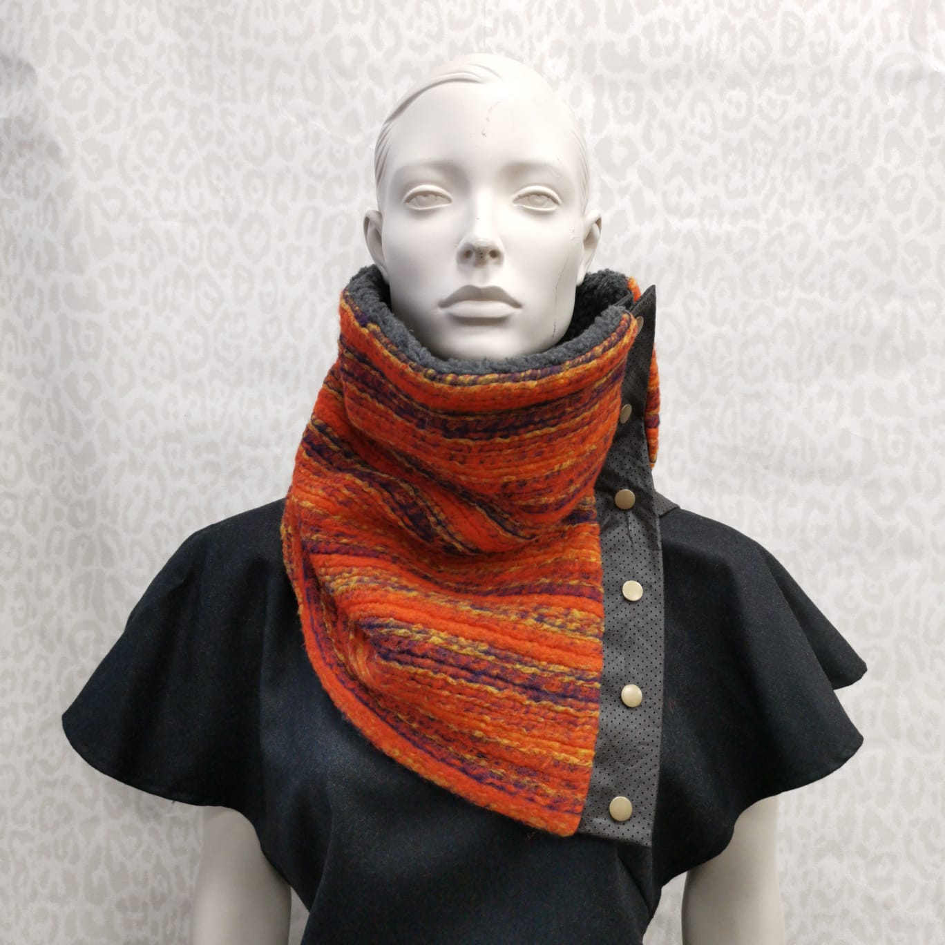 Snap cowl - orange fleece (unisex)