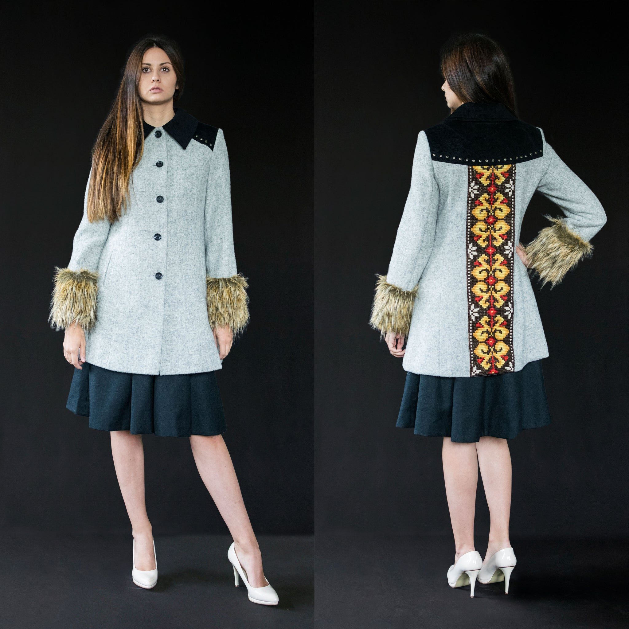 Coat light grey (wool + vintage embroidery)