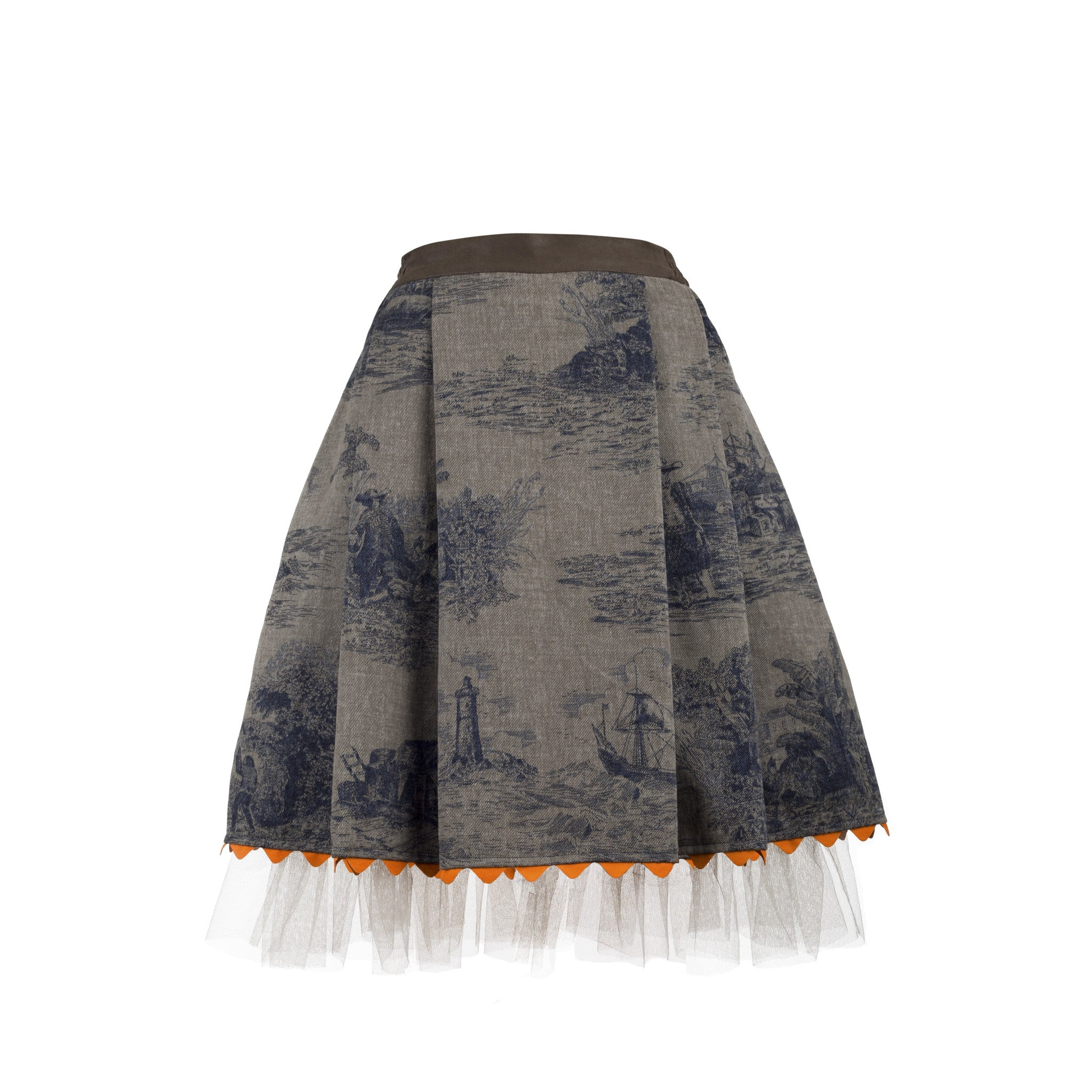 Skirt SUZE - printed denim (made to order)