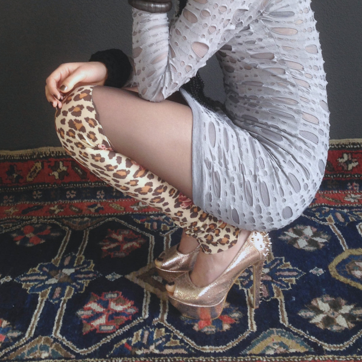 Leggings - faux tights with animal print