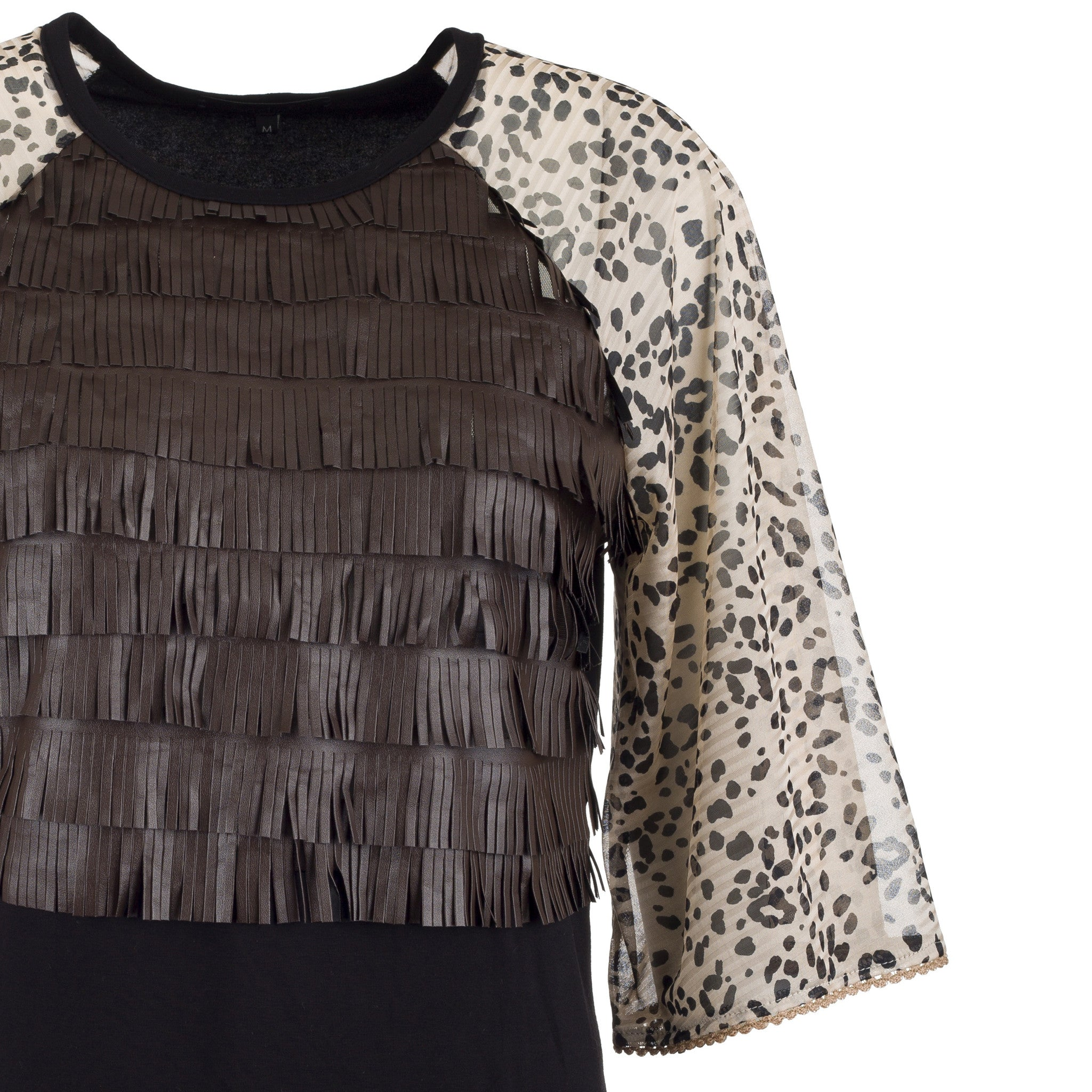 Top with fringe - wide sleeve (made to order)