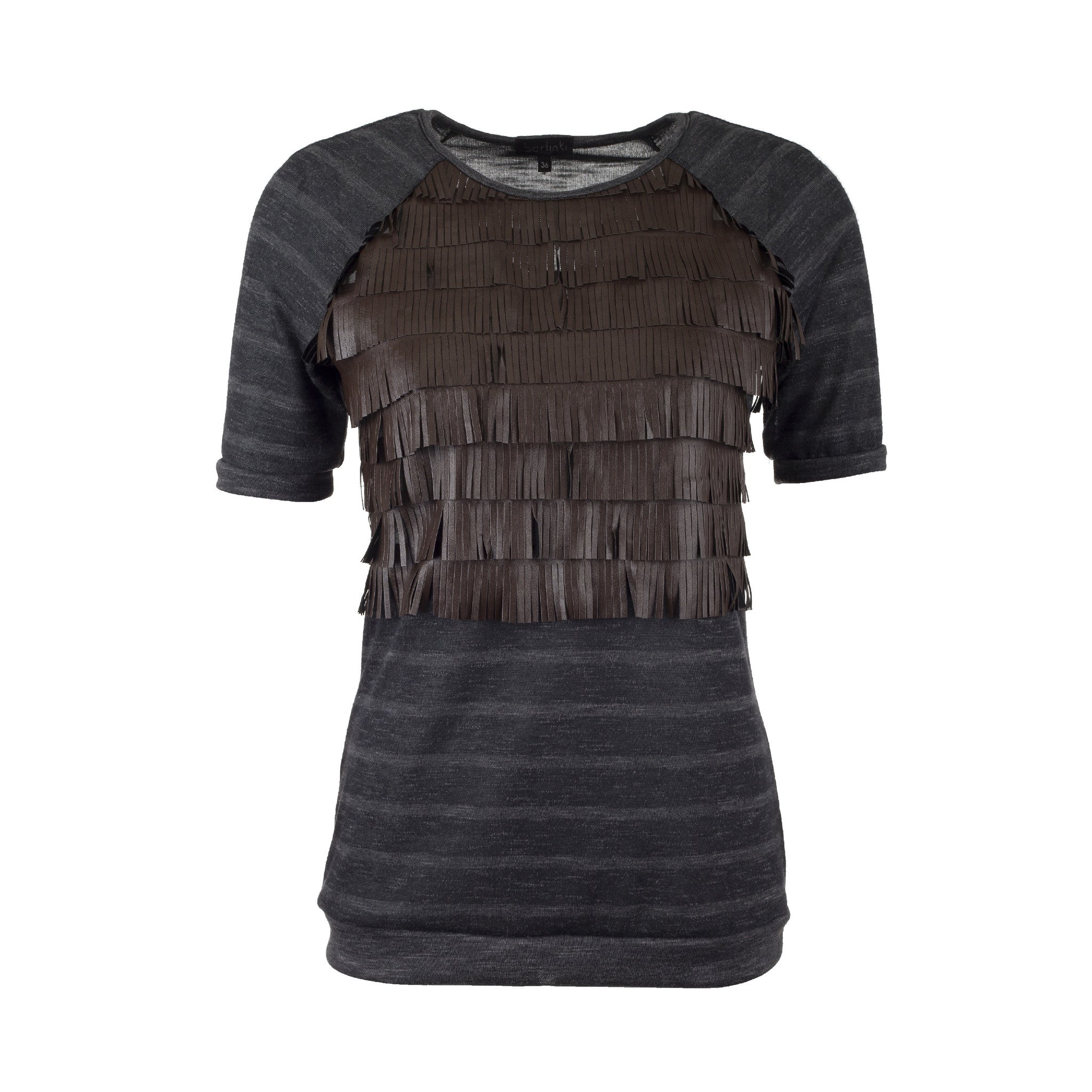 Top with fringe - short sleeve (made to order)