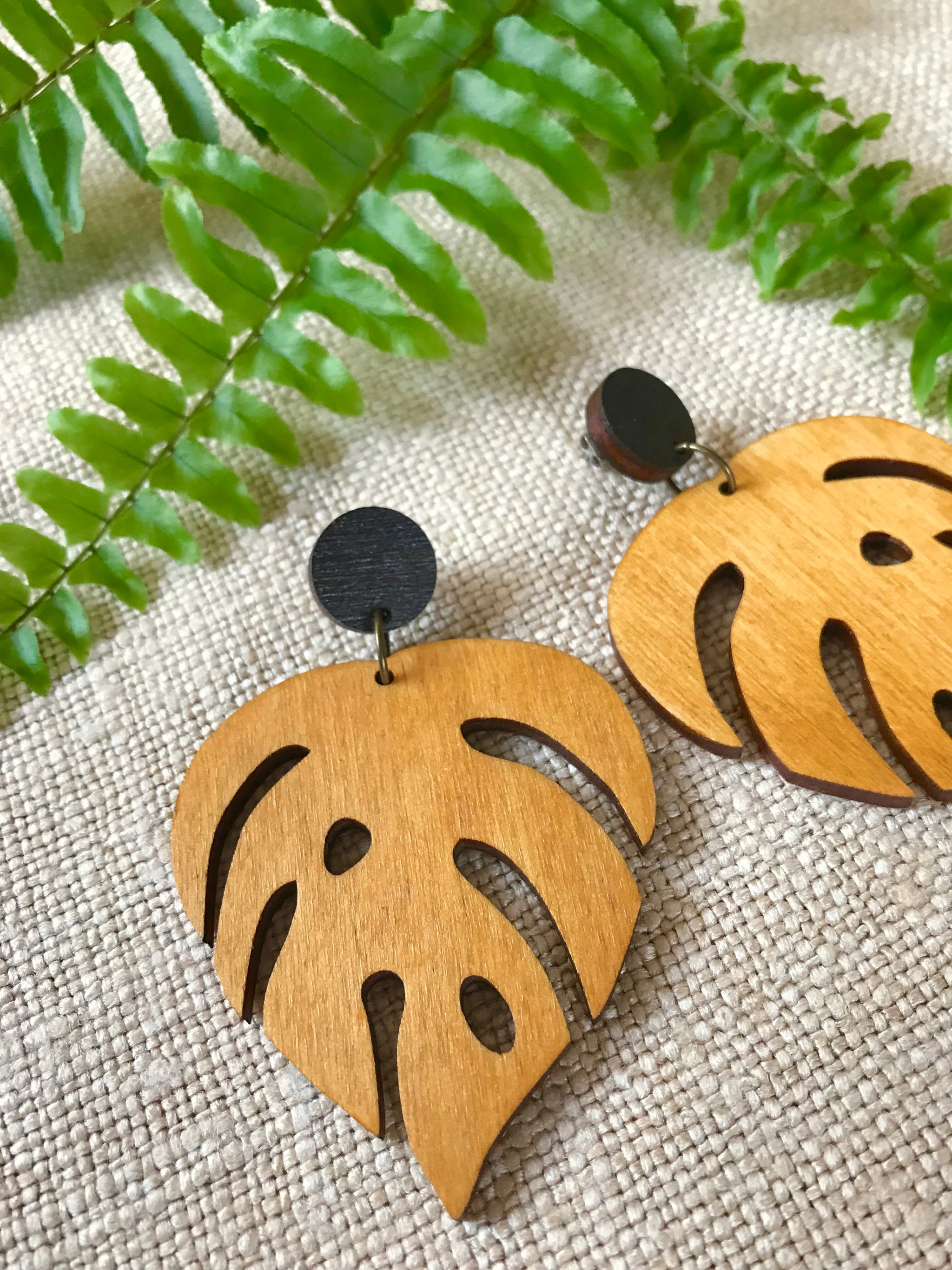 Earrings - Large Monstera (yellow pine)