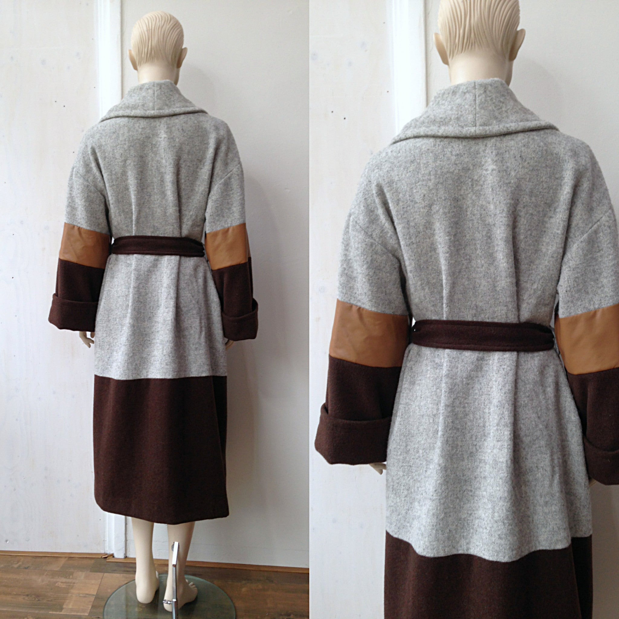 Coat LENA - wool and leather (XS-XXL)