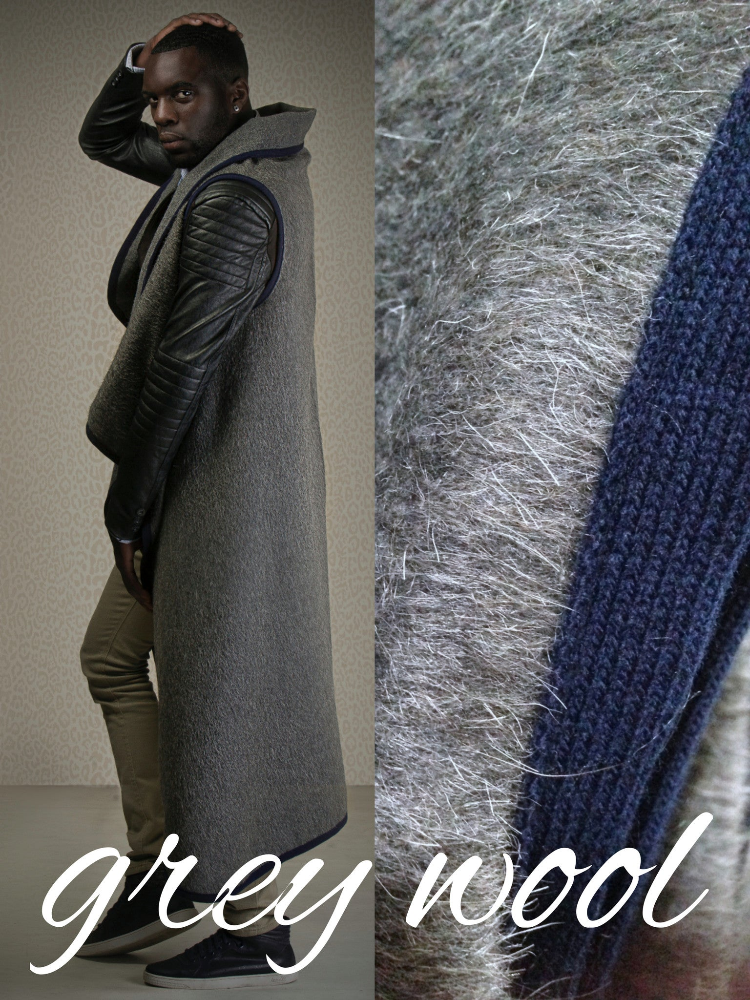 Vest (long) - grey wool