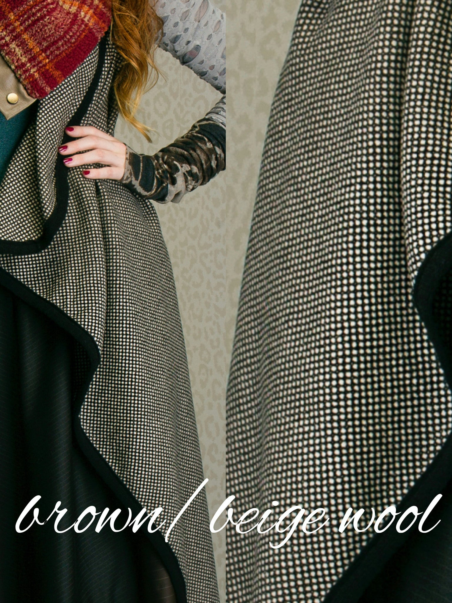 Vest (long) - brown/beige wool
