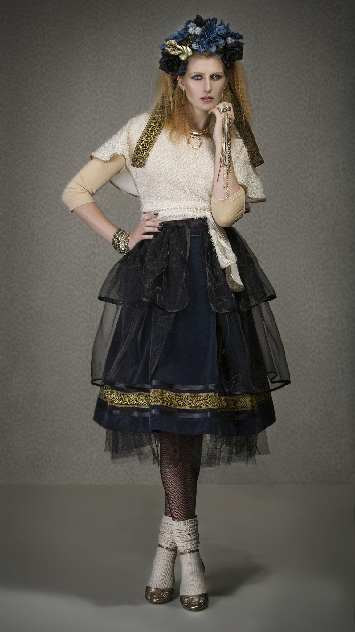 Skirt - black organza overskirt (made to order)