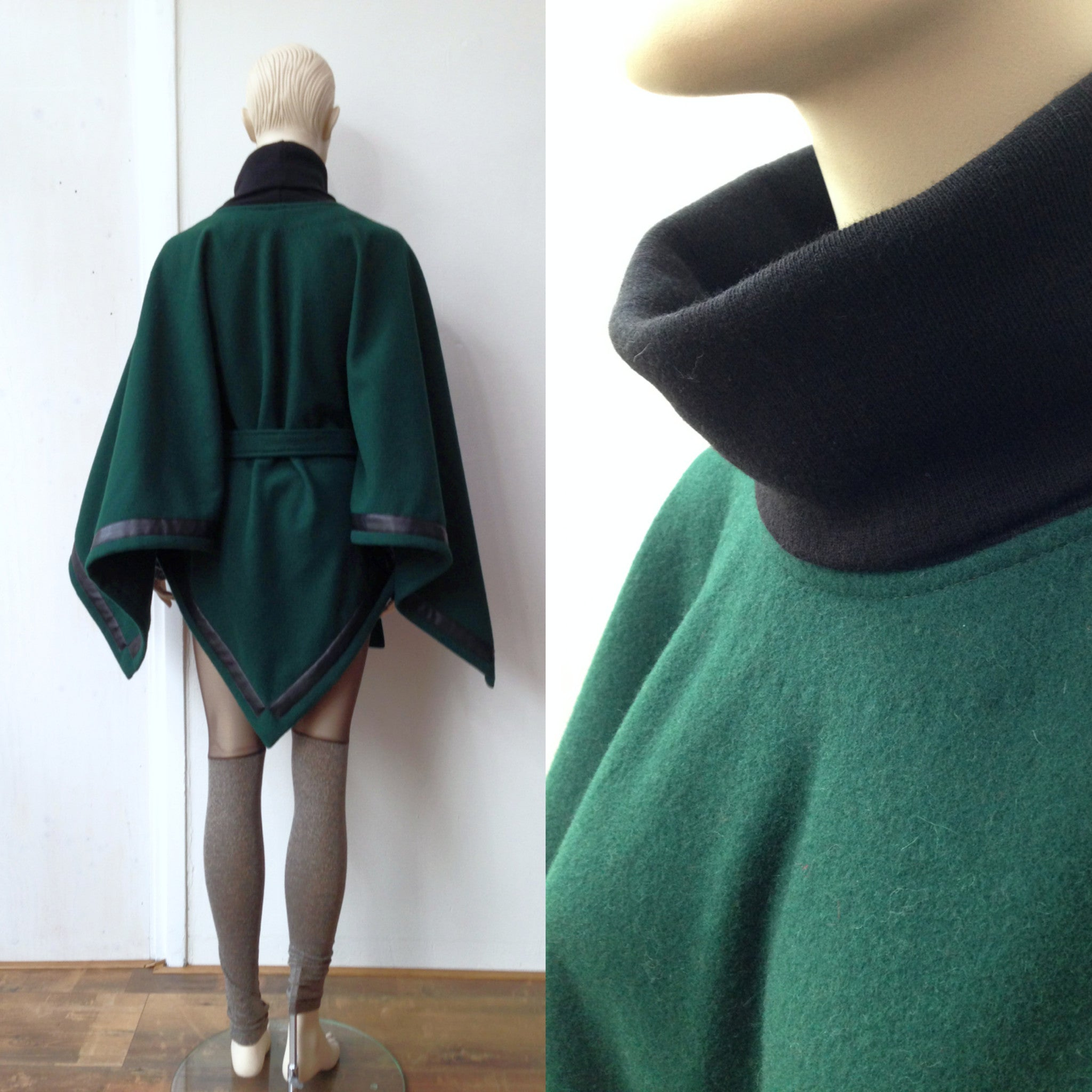 Poncho - wool and leather (XS-XXL)