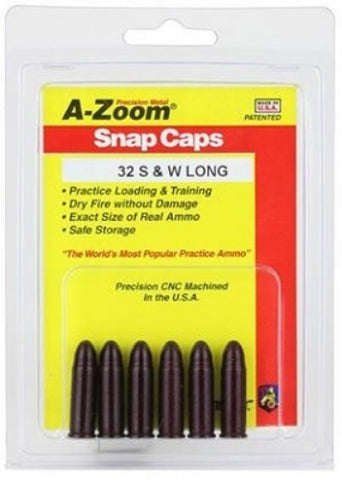A-ZOOM 32 SMITH & WESSON LONG METAL SNAP CAPS - 6 PACK - 16135