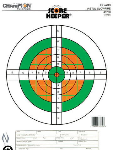 CHAMPION TARGET 25YD PISTOL SLOW FIRE FLURO 12 PACK - CH45760