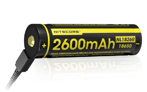 NITECORE 2600MAH MICRO USB RECHARGABLE 18650 BATTERY NL1826R