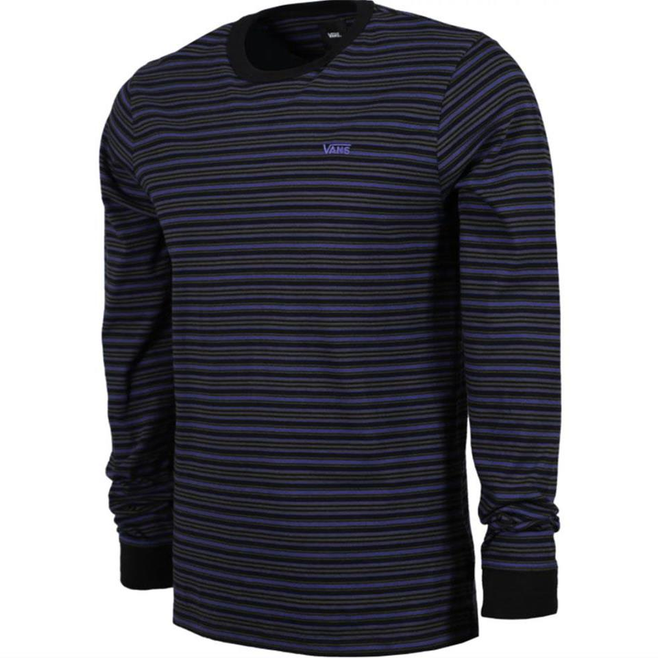 Vans Micro Stripe Long Sleeve T-Shirt - Black/Spectrum