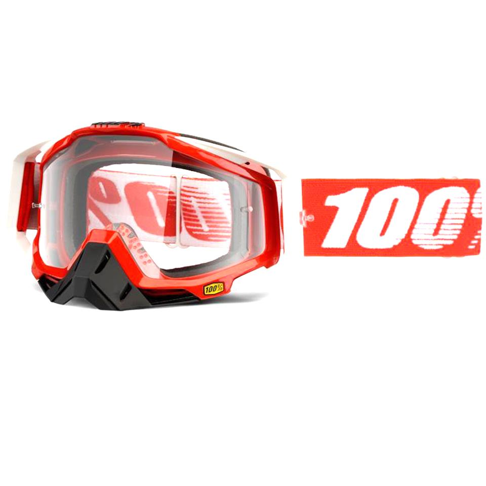 100% Racecraft Goggles - Fire Red/Clear Lens