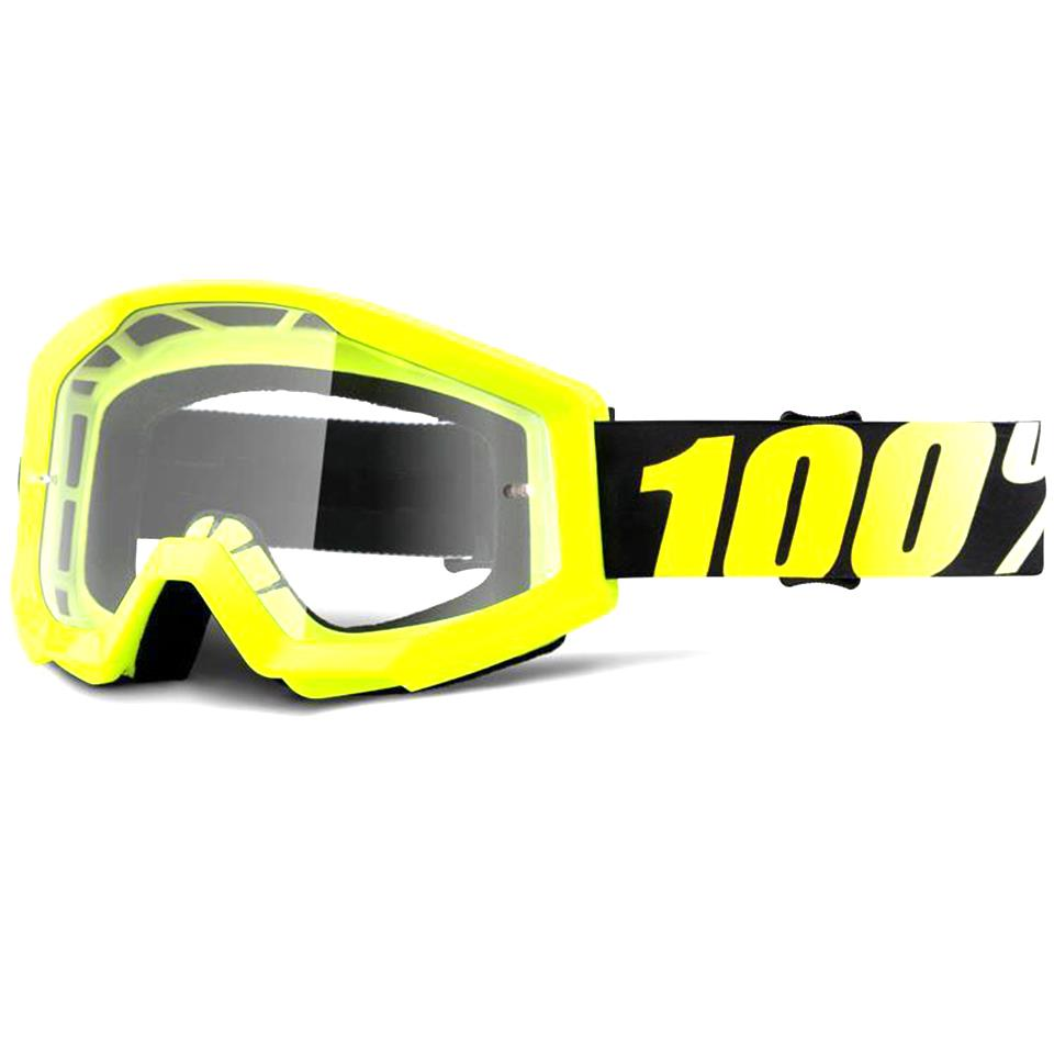 100% Strata JR Goggles Neon Yellow/Clear Lens