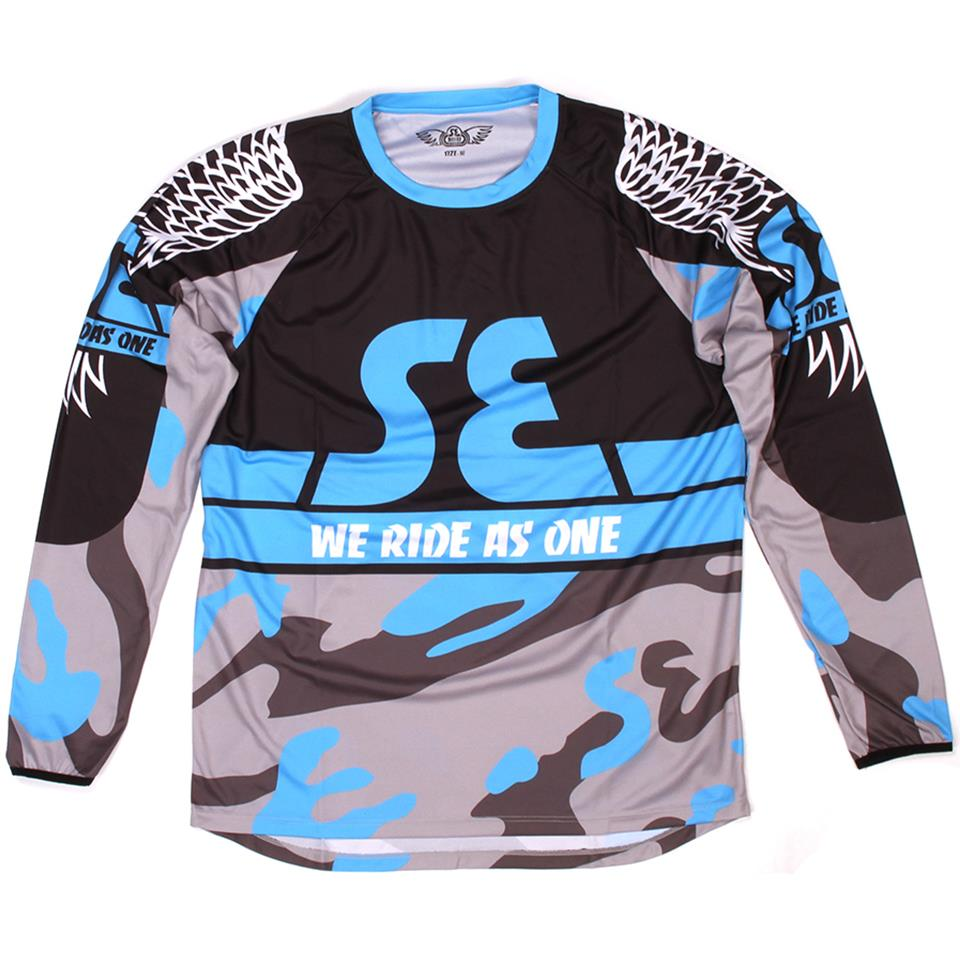"SE Bikes ""WRAO"" Long Sleeve Race Jersey - Blue Camo"