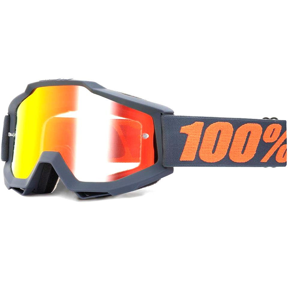 100% Accuri Race Goggle - Matte Gunmetal/Mirror Red Lens