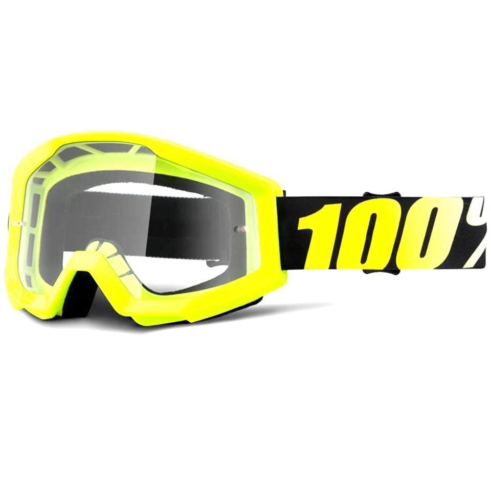 100% Strata Goggles Neon Yellow/Clear Lens