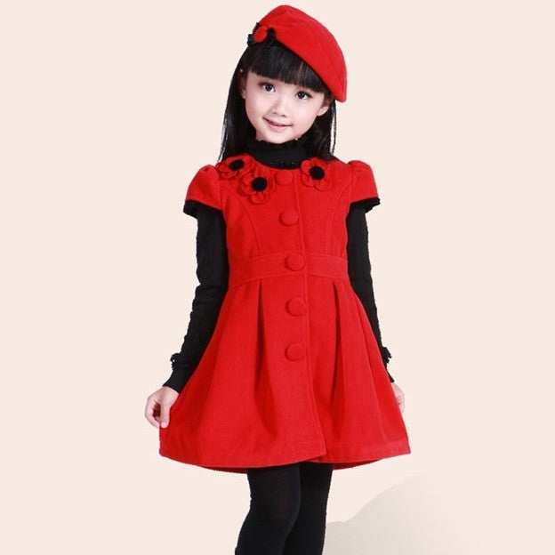 Red Wool Dress Beret 3-8T 1001