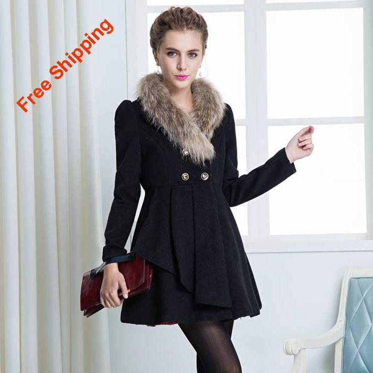 Women's Fur deco Wool Trench Coat 2013-12p - 365boxingdays - 1