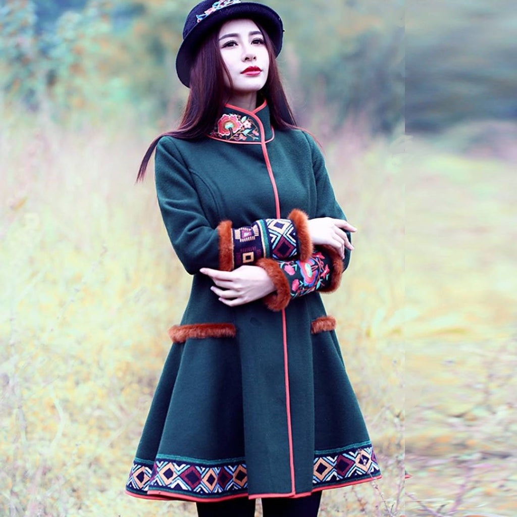 Military Green Embroidery Faux Fur Coat