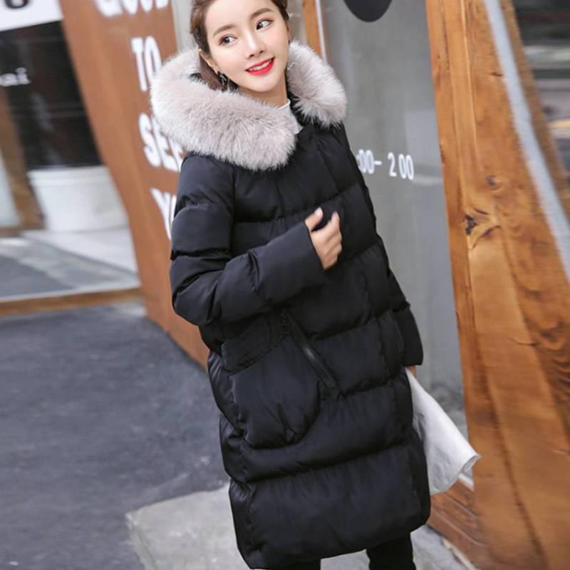 Big Faux Fur Hood Oversized Warm Long Coat
