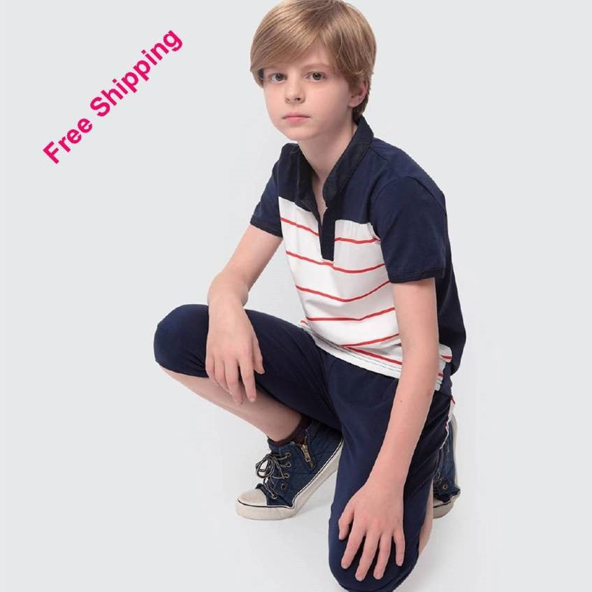 Striped T-shirt Shorts Set 9-11Y 7010B - 365boxingdays