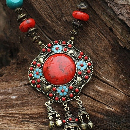 Tibetian Stone and Bell Necklace 6007 - 365boxingdays - 1