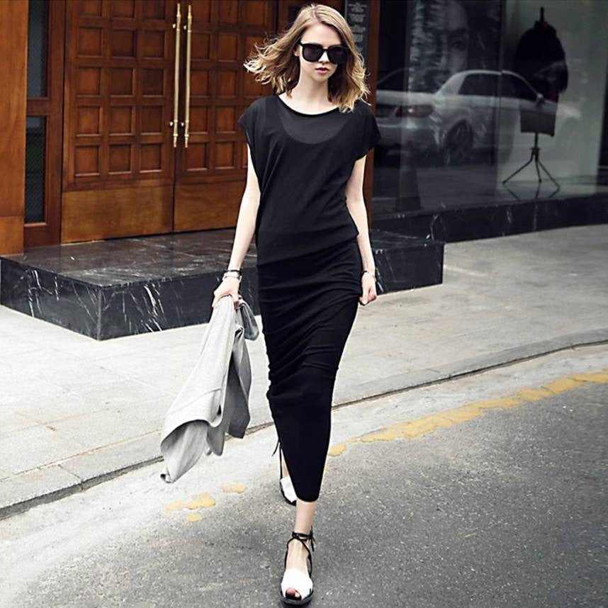 Stylish Black Top and tank Dress 2028