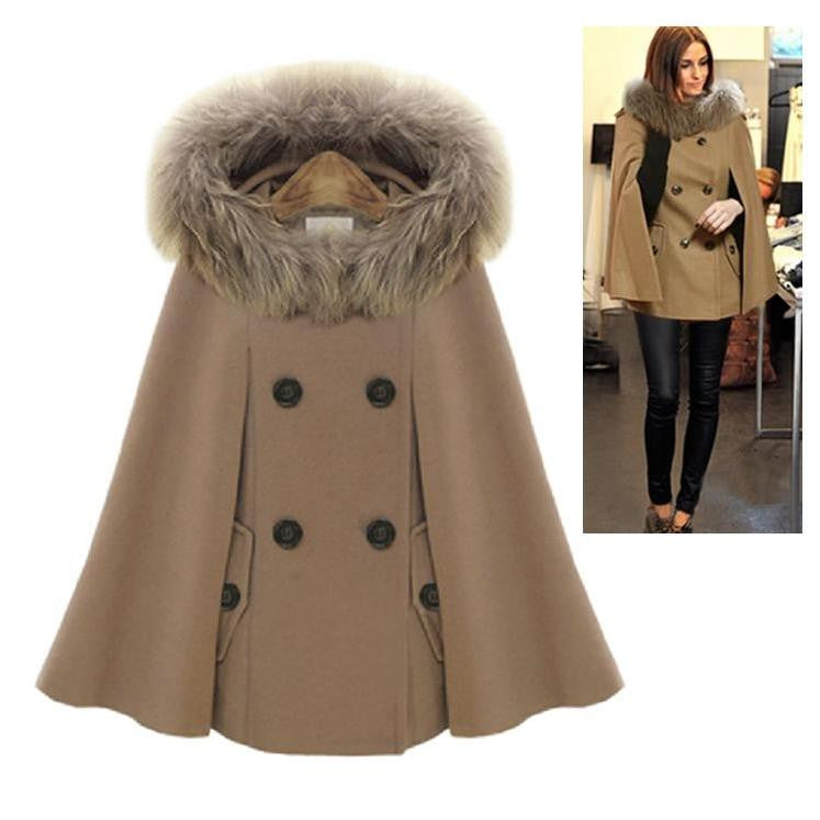 Raccoon Fur Hoddy Cape Coat 2051 - 365boxingdays