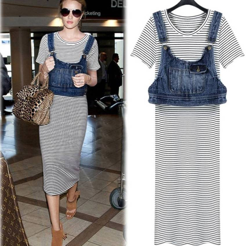 Long striped dress with denim short top 2041 - 365boxingdays