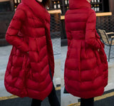 Red Down Coat with waist tie for maternity