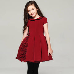 Big girls' red skater dress with 3D flowers 1041