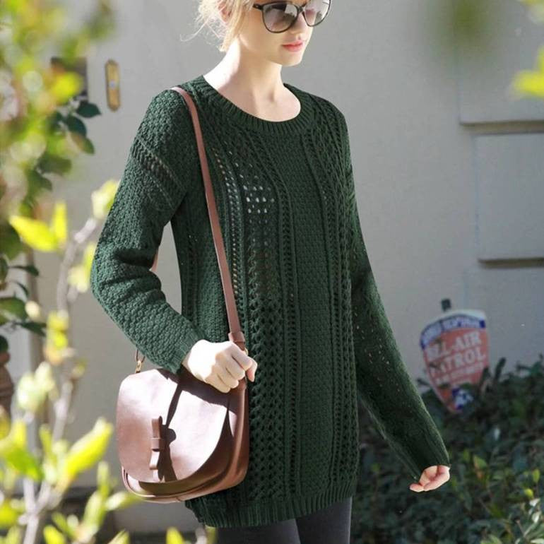 Women's Long Green Knit Sweater 2054