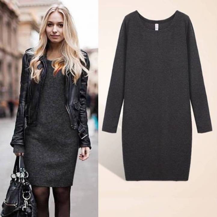 Women's long sleeves sweater dress 2019