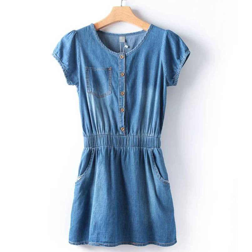 Thin Soft Cotton Denim Short Dress 1029B