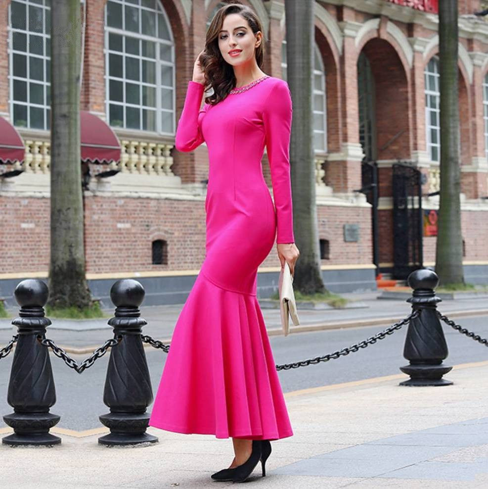 Bright Pink Mermaid Sheath Gown 2056