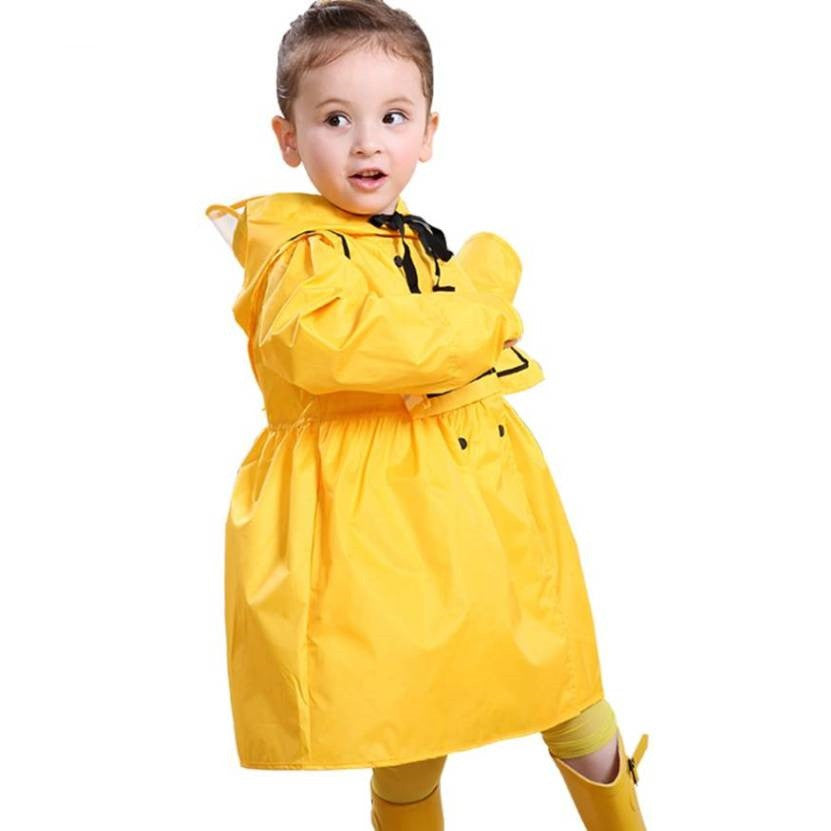 Dress Style Long Rain Coat for Girls 1037