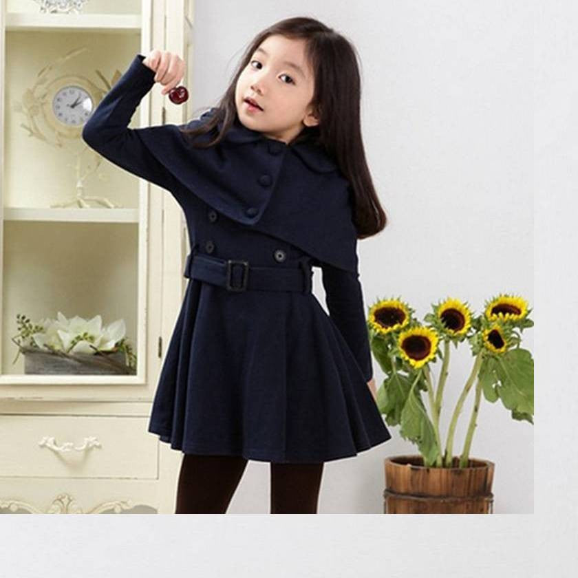Polyester Cape Trench Coat 5-12T 1009