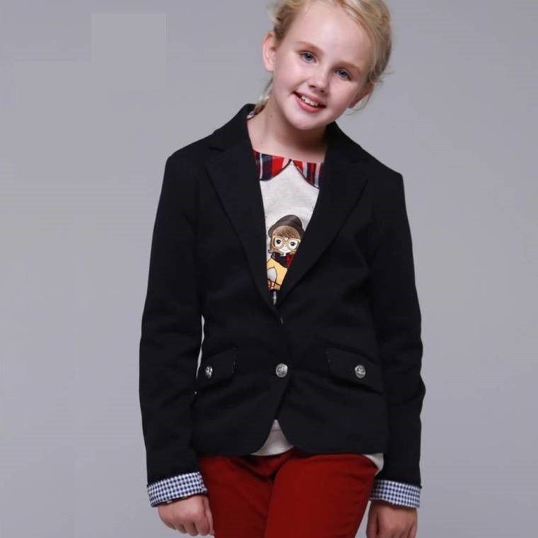 Girls' Black Blue Suit One Buckle 6-7 1021