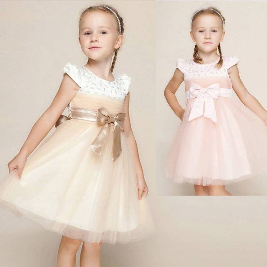 Girls Pink Crystals Princess formal dress with Big Bow 4-10