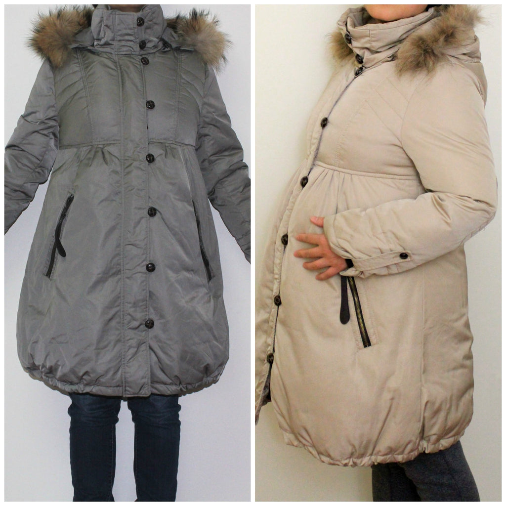 Down Maternity Puffer Coat Hooded Fur