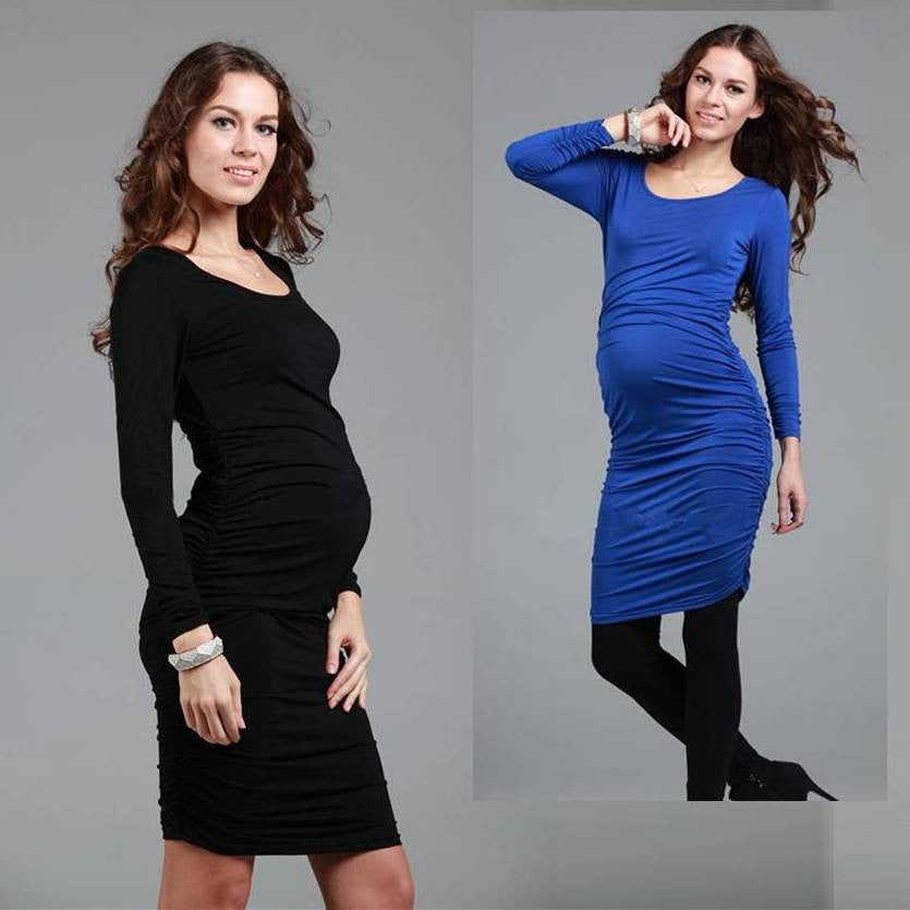Maternity Fitting Long Sleeves Dress 5101 - 365boxingdays - 2