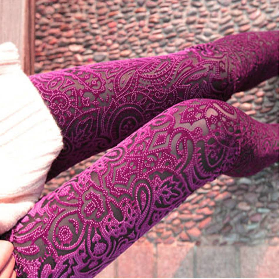 Maternity Velvet Sexy Barbie Pink Leggings Lace - 365boxingdays - 1