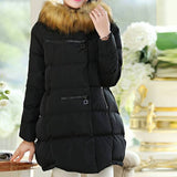 Maternity Winter Puff Coat Faux Fur Collar 5055 - 365boxingdays - 1