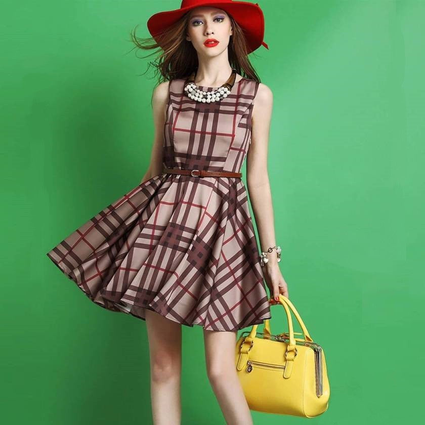 Round Neck Plaid Lady Tank Dress 2033