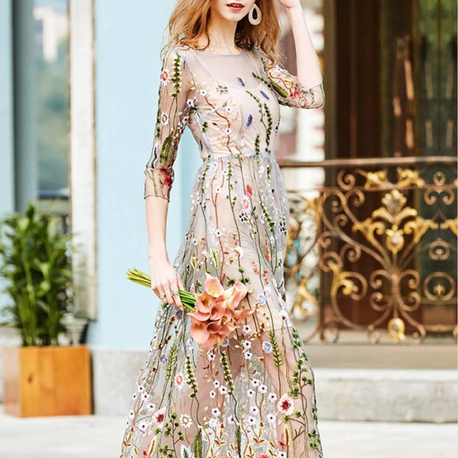 Spring Floral Embroidery Slim dress 2057