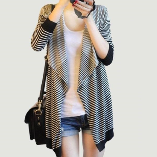 Waterfall Open Front Stripe Cardigan 2053