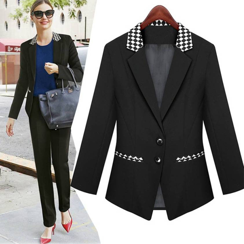 Ladies' Black Business Jacket S~3XL 2042