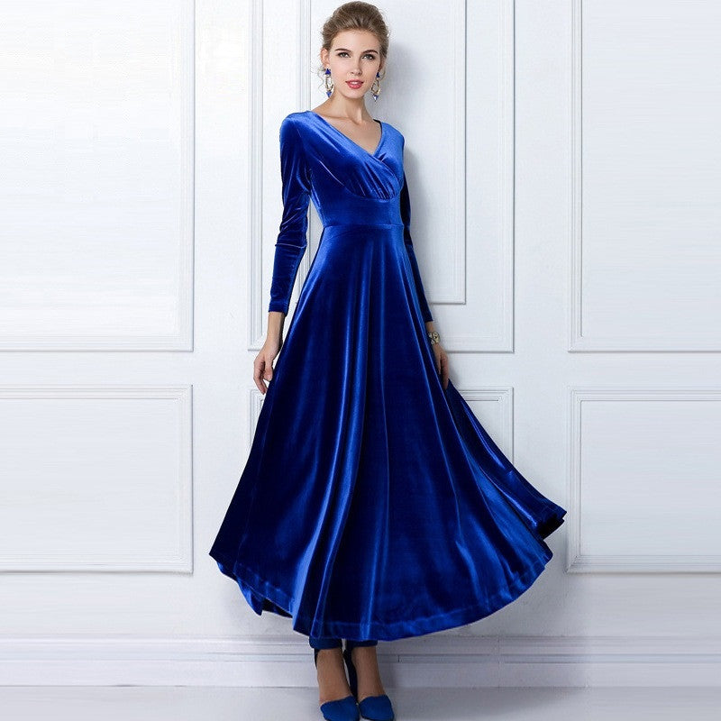 Pleuche Floor-length Dress 8004