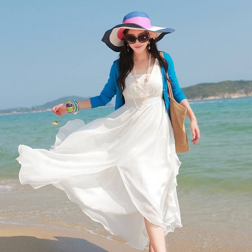 Fluttering White Beach Dress 2024